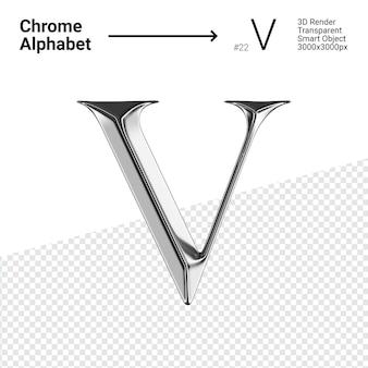 Metallic chroom alfabet letter v geïsoleerd
