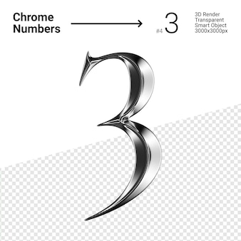 Metallic chroom nummer 3 drie geïsoleerd