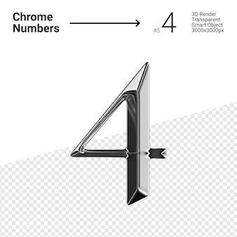 Metallic chroom nummer 4 vier geïsoleerd