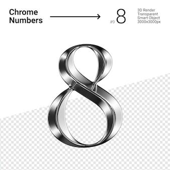 Metallic chroom nummer 8 acht geïsoleerd