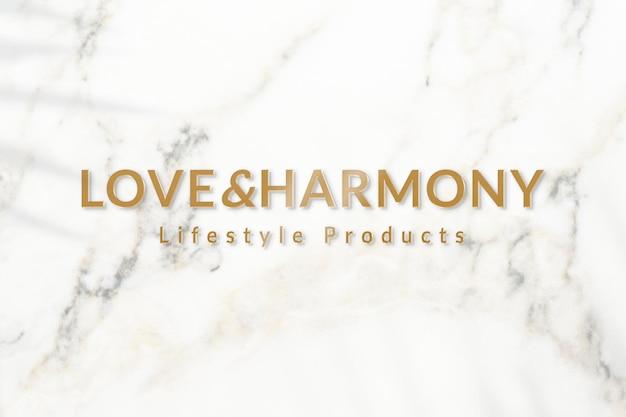 Metallic gouden logo-sjabloon psd voor lifestyle-producten