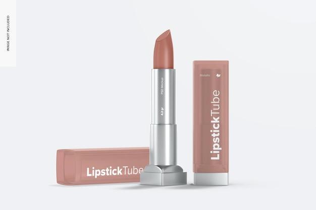 Metallic lipstick tube-mockup, geopend en gesloten