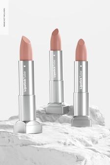 Metallic lipstick tubes mockup, vooraanzicht