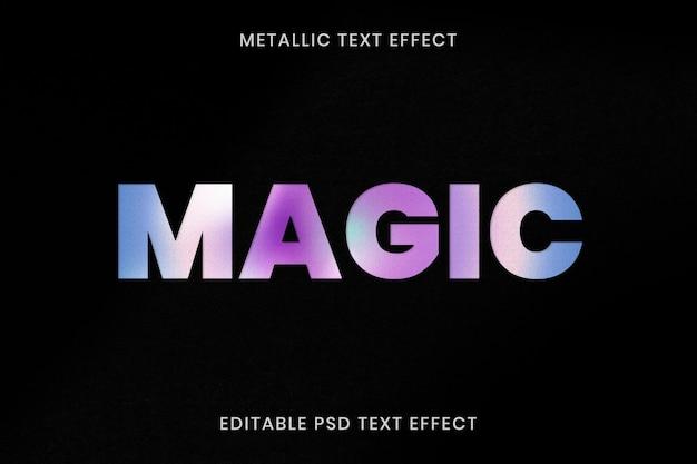 Metallic teksteffect psd bewerkbare sjabloon