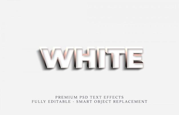 Metallo bianco 3d stile testo effetto psd