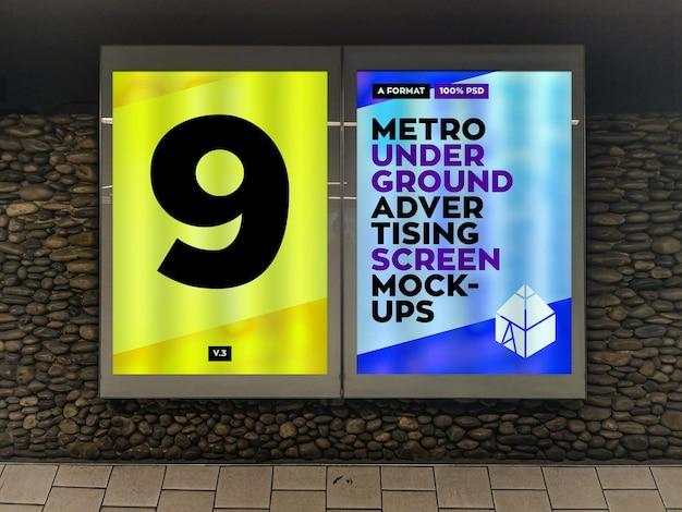 Metro underground reclame billboard mockup