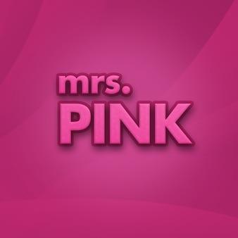 Mevrouw roze tekst