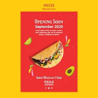 Mexicaans eten restaurant poster sjabloon