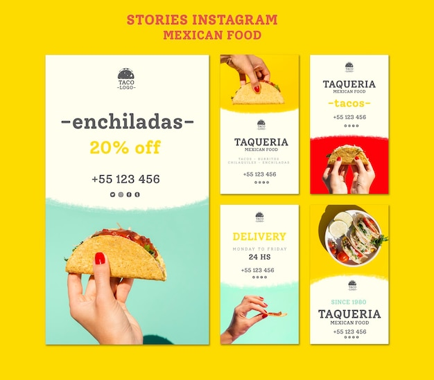 Mexicaans restaurant instagram verhalen sjabloon