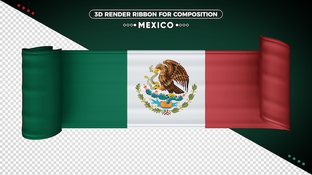 Mexico 3d vlag lint voor samenstelling Premium Psd