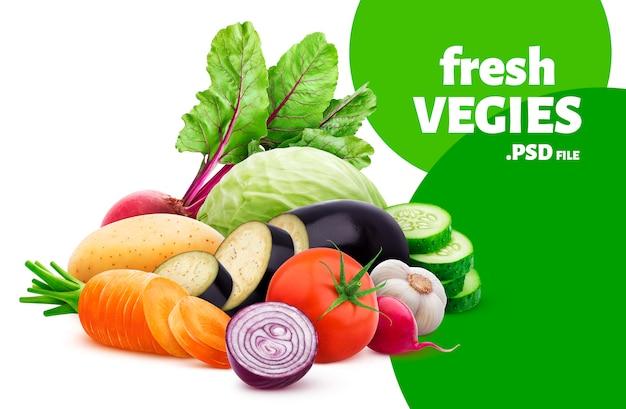 Mezcla de diferentes verduras aisladas sobre fondo blanco.