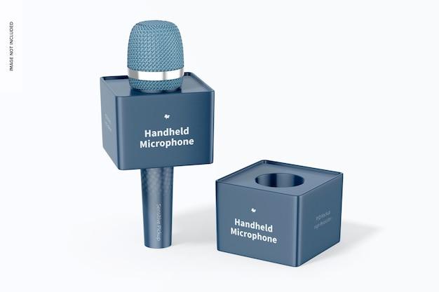 Micrófono de mano con maqueta de cubo