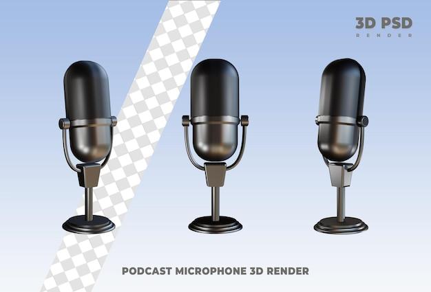 Microfoon podcast 3d render pictogram badge geïsoleerd