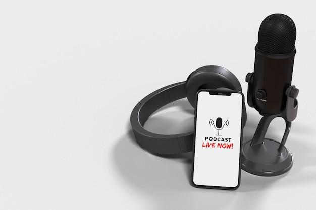 Microfoons met smartphone voor een persconferentie, spreekbeurt, podcast of interview