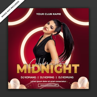Middernacht feest, poster evenement sjabloon, vierkant formaat