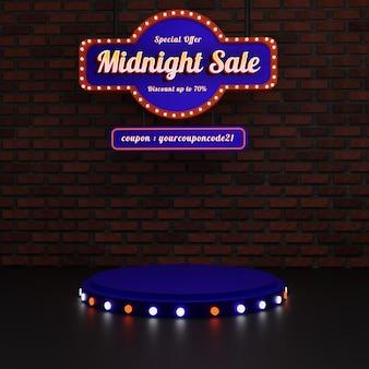 Middernachtverkoop vintage podium met teken en tekst effect Premium Psd