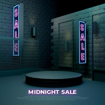 Midnight sale 3d realistisch podium productpromodisplay