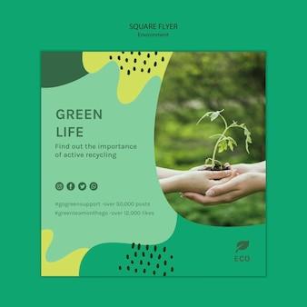 Milieu concept vierkante sjabloon folder