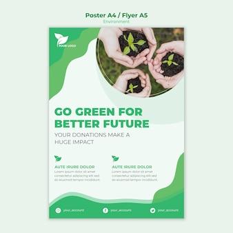 Milieu poster sjabloon concept
