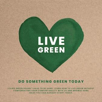 Milieuactivist hart psd-sjabloon met doe iets geweldig tekstafbeelding