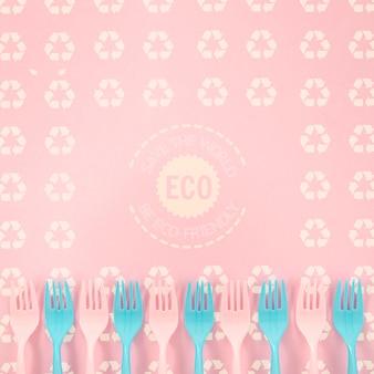 Milieuvriendelijke vorken met achtergrondmodel
