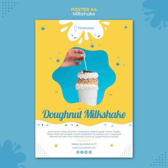 Milkshake poster sjabloonontwerp