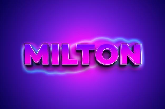 Milton 3d-tekststijleffect Premium Psd