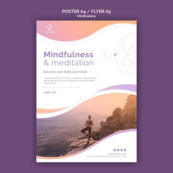 Mindfulness concept flyer sjabloon
