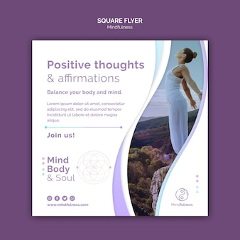 Mindfulness concept vierkante flyer-sjabloon