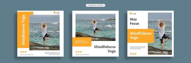Mindfulness yoga sociale media-sjabloon voor spandoek of vierkante flyer collectie