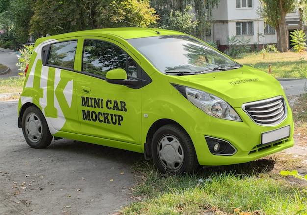 Mini auto mockup geïsoleerd