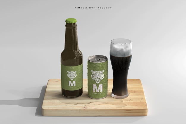 Mini refresco o lata de cerveza de 180 ml y botella con maquetas de gotas de agua