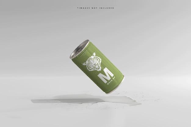 Mini refresco o lata de cerveza de 180 ml con maquetas de gotas de agua