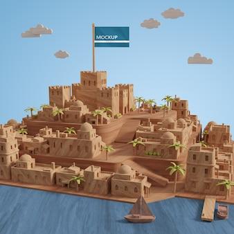 Miniatuur 3d-model van steden gebouwen met mock-up