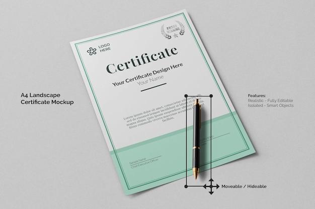 Minimaal a4 landschapsonderwijscertificaatmodel met handtekeningpenperspectiefweergave