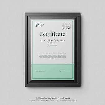 Minimaal a4 portret modern certificaat met framemodel Premium Psd