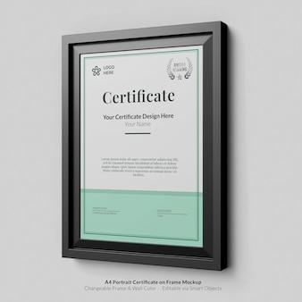 Minimaal a4 portret modern certificaat met framemodel