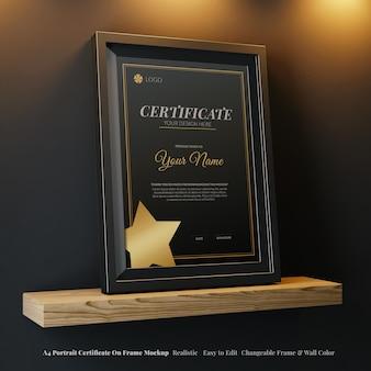 Minimaal a4 verticaal modern certificaat op zwart frame bewerkbare mockup perspectiefweergave