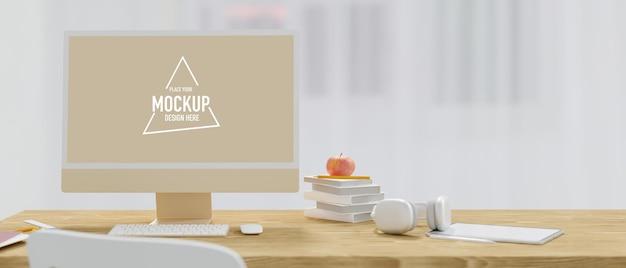 Minimaal houtachtig desktopcomputermodel in werkruimtestijl met hoofdtelefoontablet op houten werktafel Premium Psd