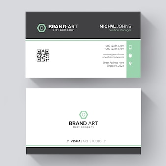 Minimaal modern visitekaartjeontwerp met groene details