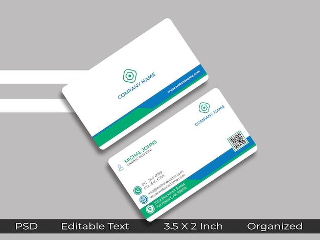 Minimaal ontwerp visitekaartje met qr placeholder mockup