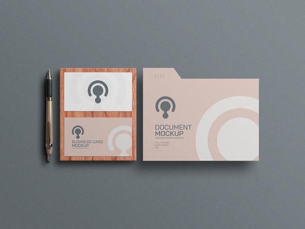 Minimaal visitekaartje met mockup voor documentpapier