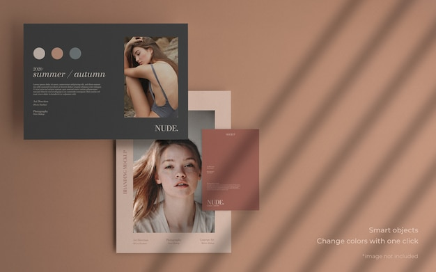 Minimal collection brochure mockup with soft shadow