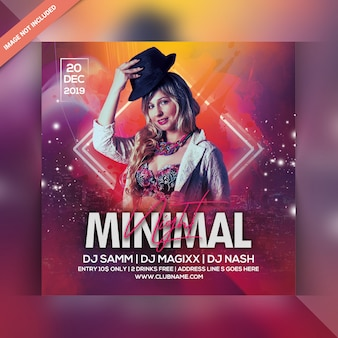 Minimal night party flyer