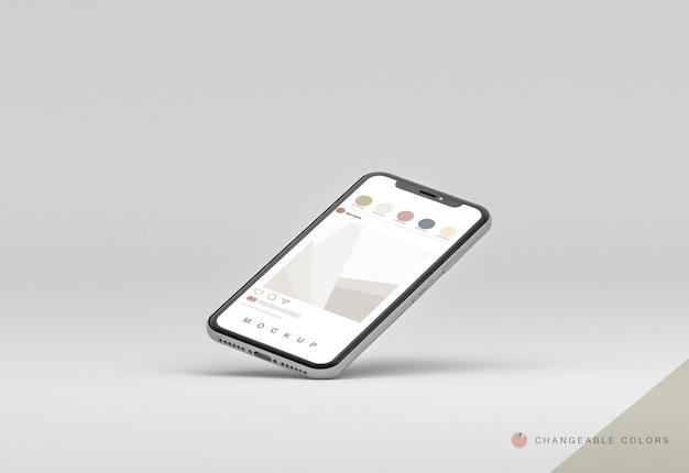 Minimale 3d-leggende telefoon met zwevende rrss-interface mockup