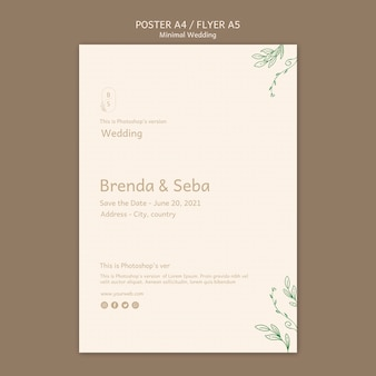 Minimale bruiloft flyer-sjabloon