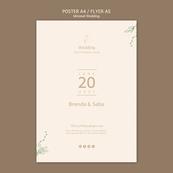 Minimale bruiloft poster sjabloon