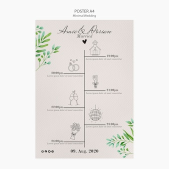 Minimale bruiloft sjabloon poster