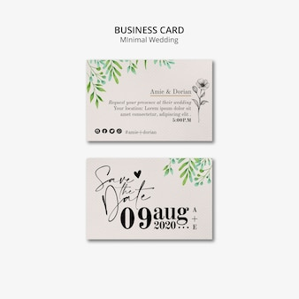 Minimale bruiloft visitekaartje set