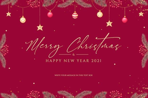Minimale kerst achtergrond met prachtige ornamenten